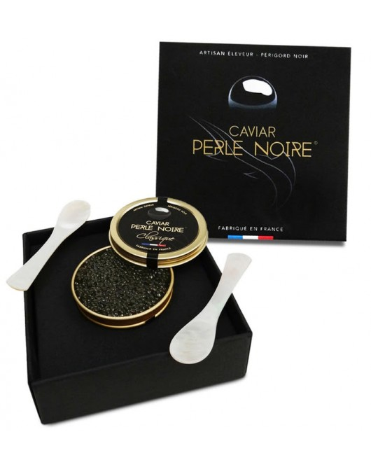 30g of Classic caviar presented in its gift box with its 2 mother-of-pearl tasting spoons