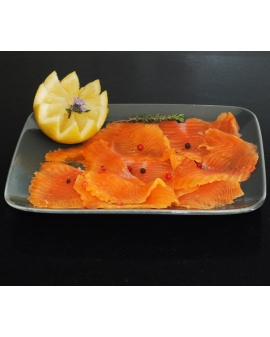 Sliced ​​smoked trout